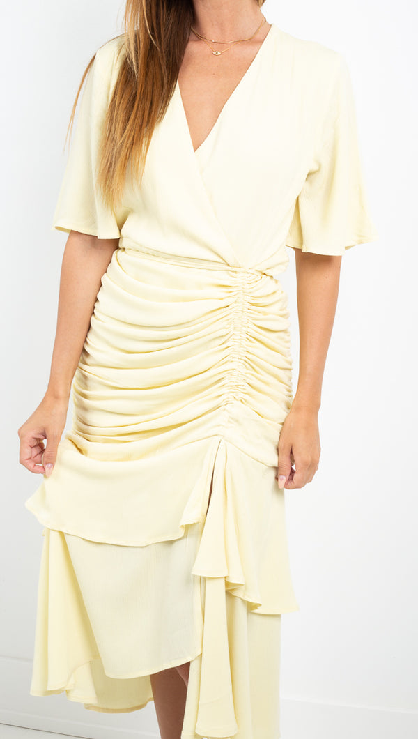 Aeryne pale yellow chiffon vneck midi dress