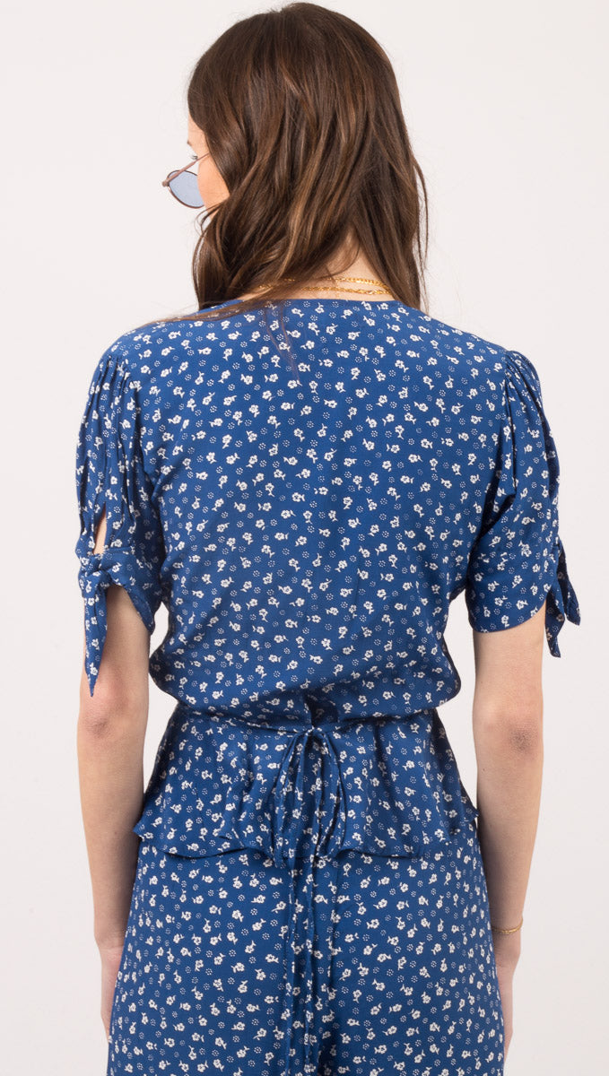 Lucy Wrap Top - Monette Floral Print Blue