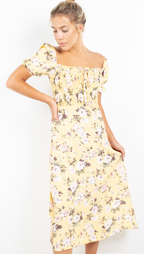 Majorelle Midi Dress - Pomeline Floral Print Jasmin Yellow