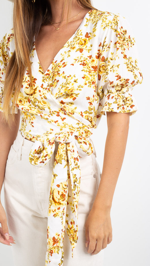 Mali Wrap Top - Goldie Floral Off White