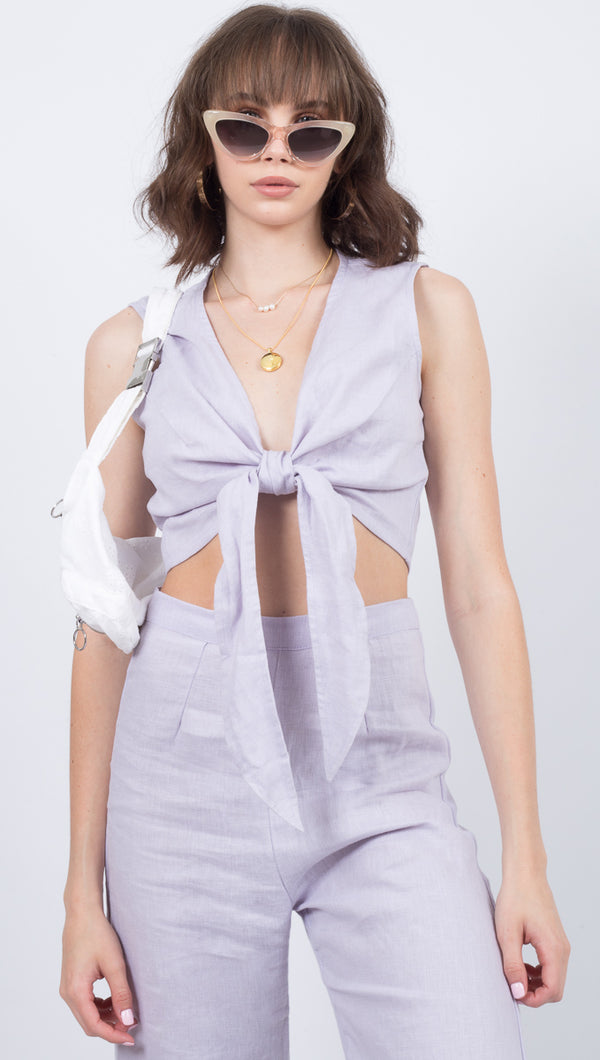 Faithfull The Brand Lavender Linen Front Tie Crop Top