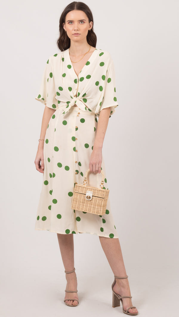 Faithful The Brand Green Polka Dot Button Down Midi Skirt