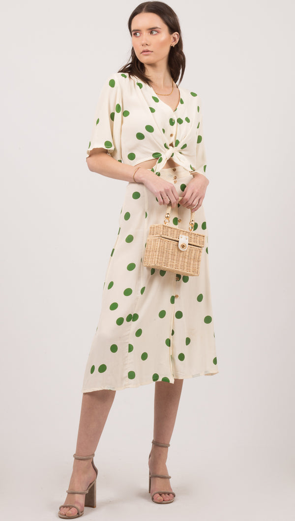 Marin Skirt - Lolita Dot Print Green