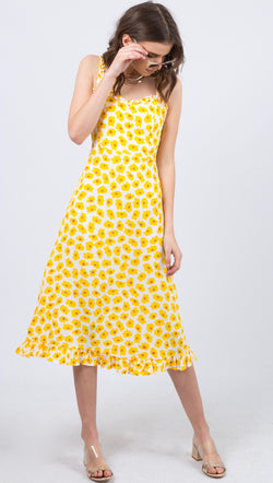 Faithfull The Brand Yellow Floral Midi Dress