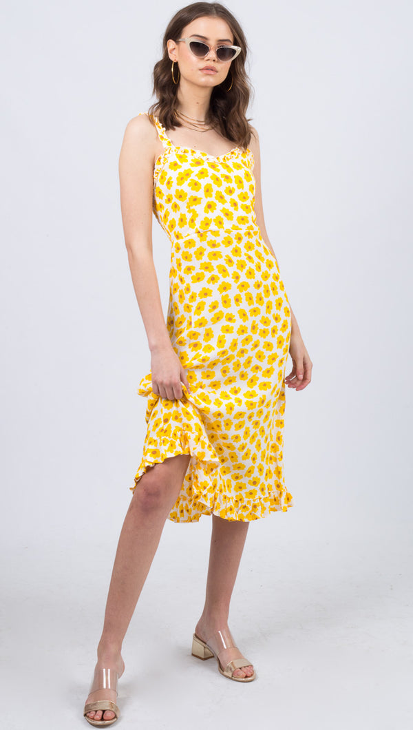 Noemie Midi Dress - Constance Floral Print Marigold