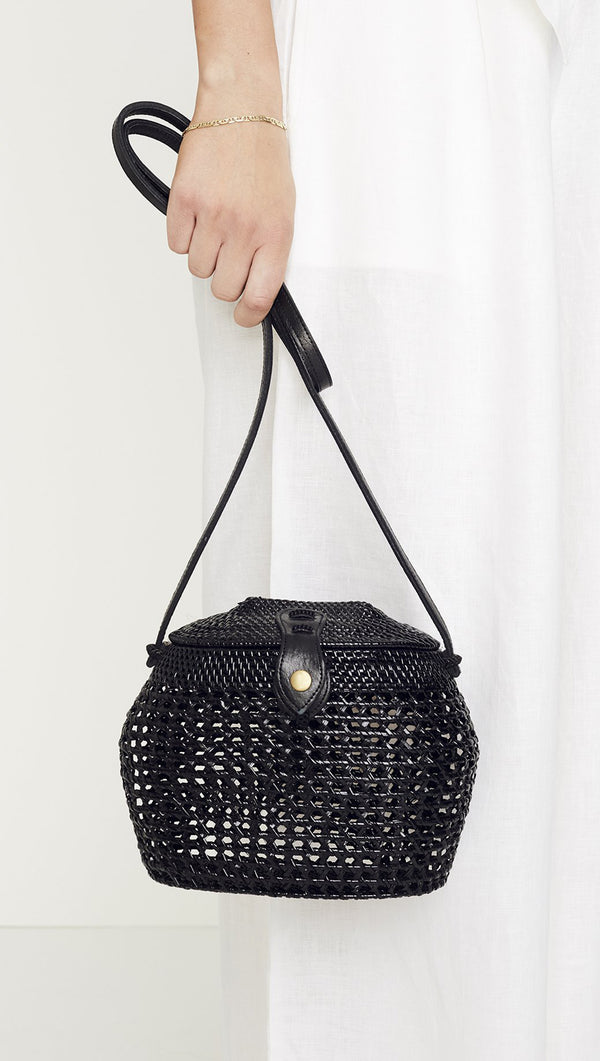 Faithfull the Brand black woven shoulder bag