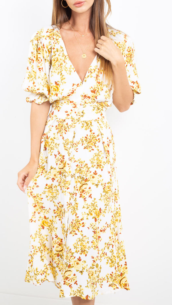 Rafa Midi Dress - Goldie Floral Off White