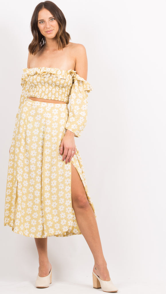 Yellow Floral Midi Skirt