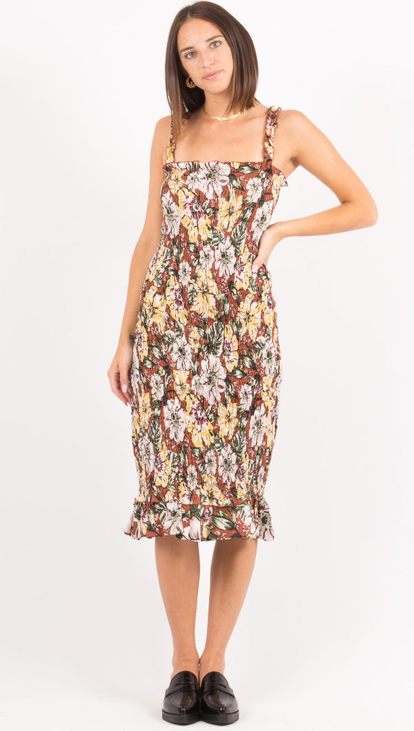 Faithfull The Brand Floral Smocked Midi Dress