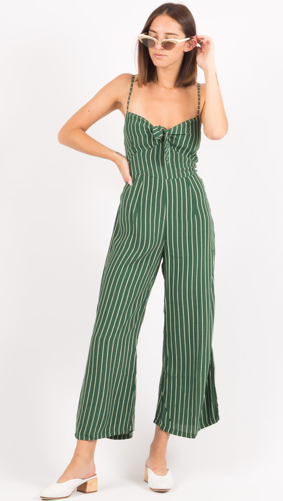 Faithfull The Brand Green and White Stripe Jumpsuit