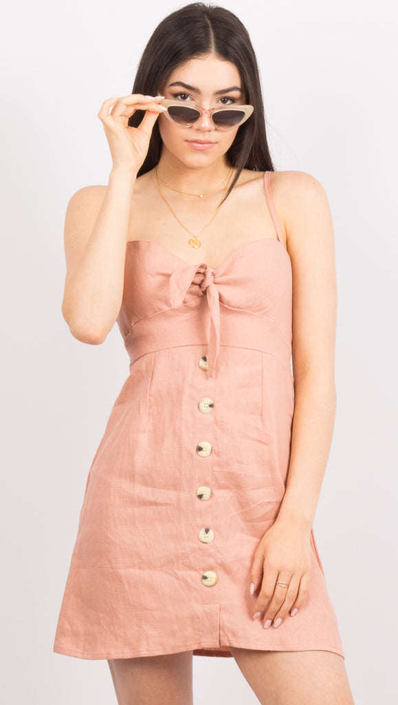 Light Pink Linen Mini Dress