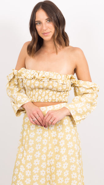 Yellow Floral Off The Shoulder Crop Top