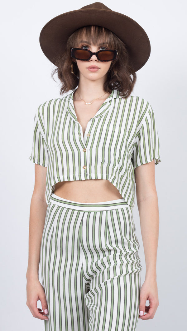Faithfull The Brand Green Striped Button Down Crop Top