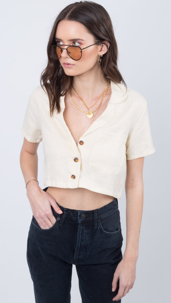 Faithful The Brand Cream Button Down Crop Top