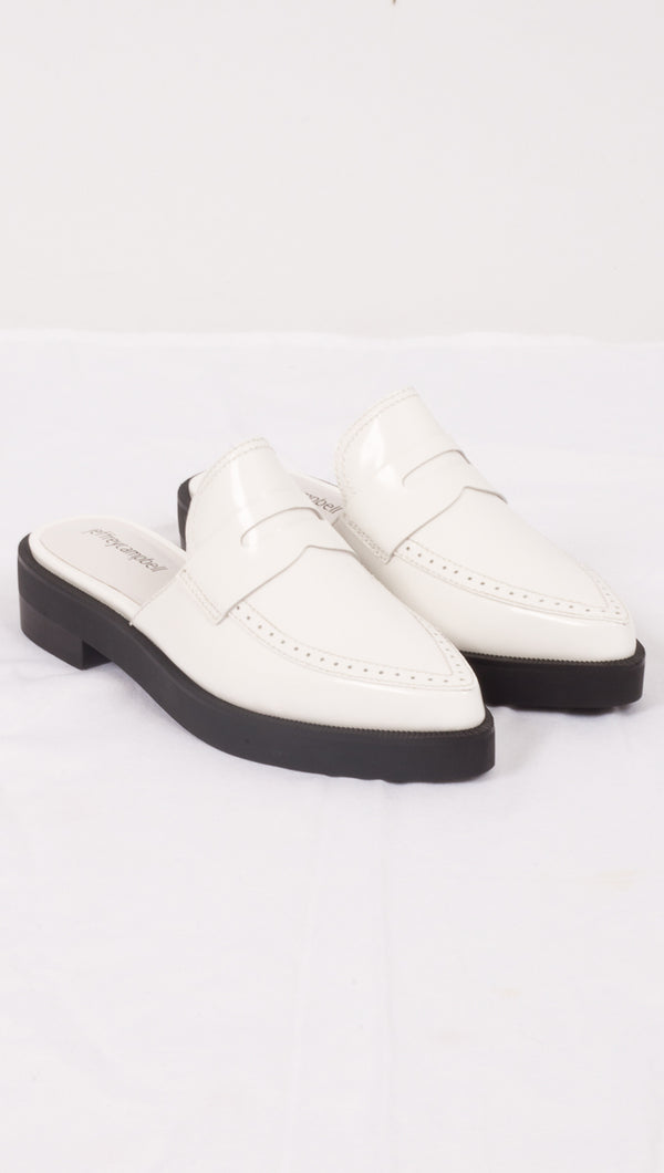 Jeffrey Campbell White/Black Platform Loafers