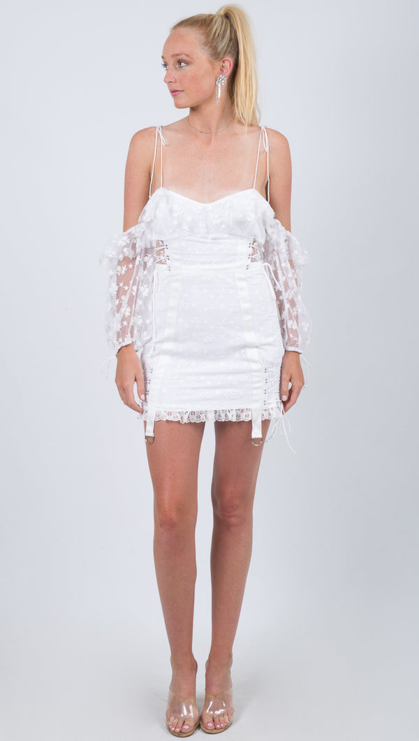 For Love and Lemons White Ruffled Sweetheart Neckline Mini Dress with Sheer Off the Shoulder Sleeves
