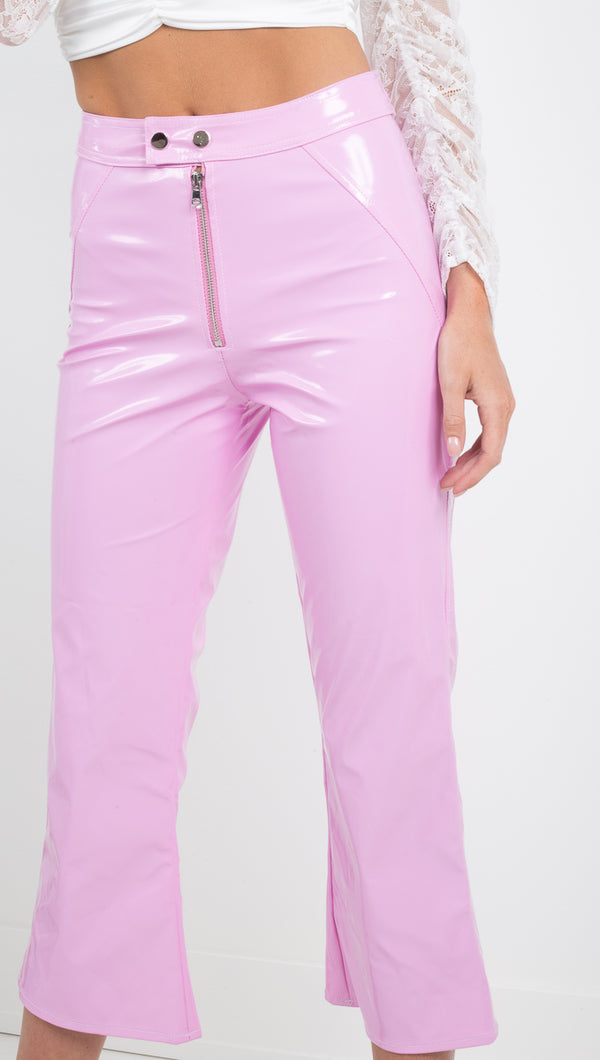 For Love and Lemons pink vinyl cropped pant