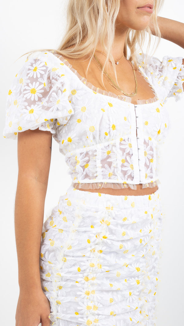 For Love And Lemons daisy/white crop top with puffy sleeves