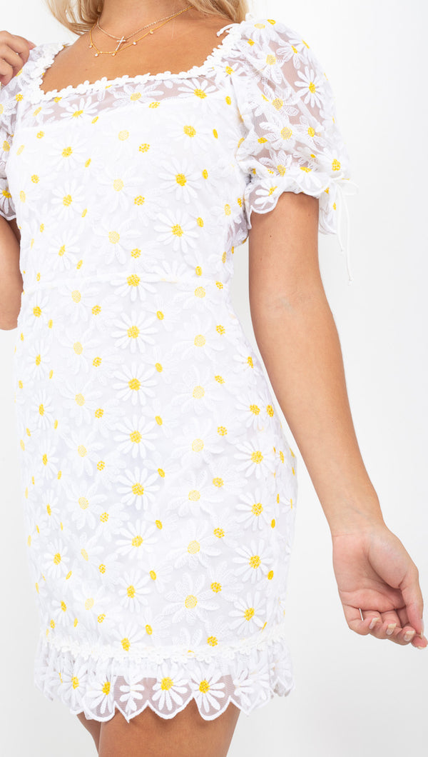 For Love And Lemons daisy/white mini dress with puffy sleeves