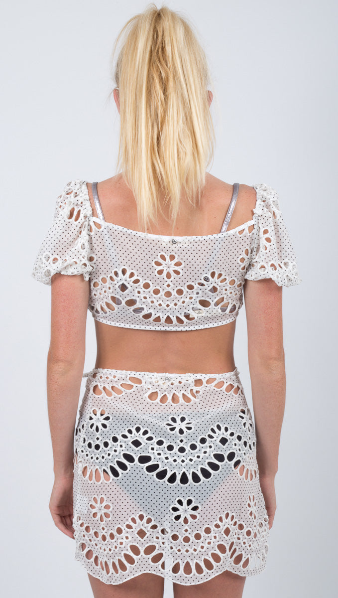 Cookies N Cream Tie Front Top - Ivory Eyelet