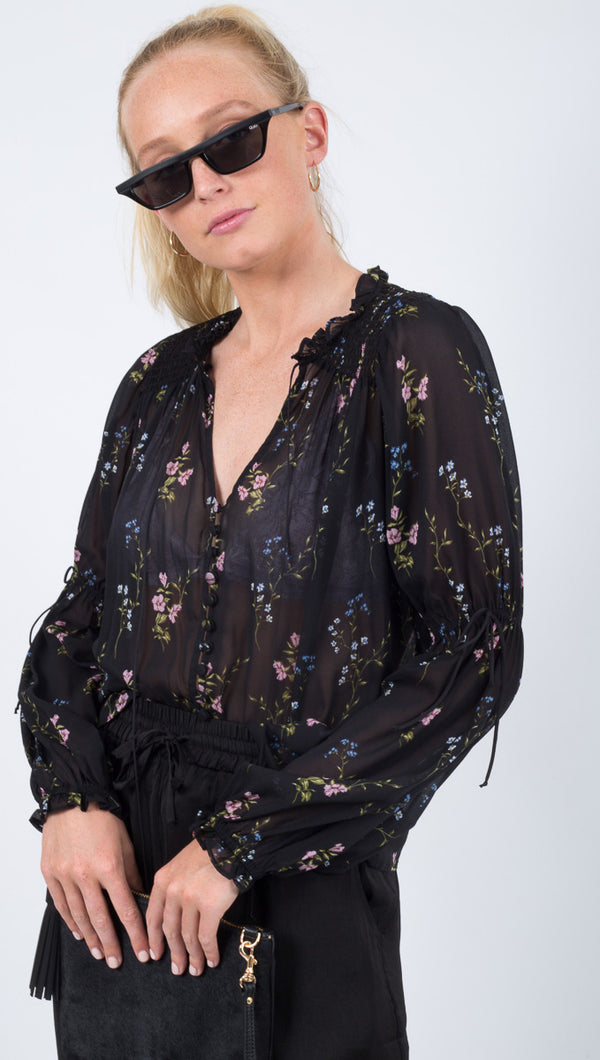 For Love and Lemons Black Floral Blouse with Elastic Ties at Sleeves
