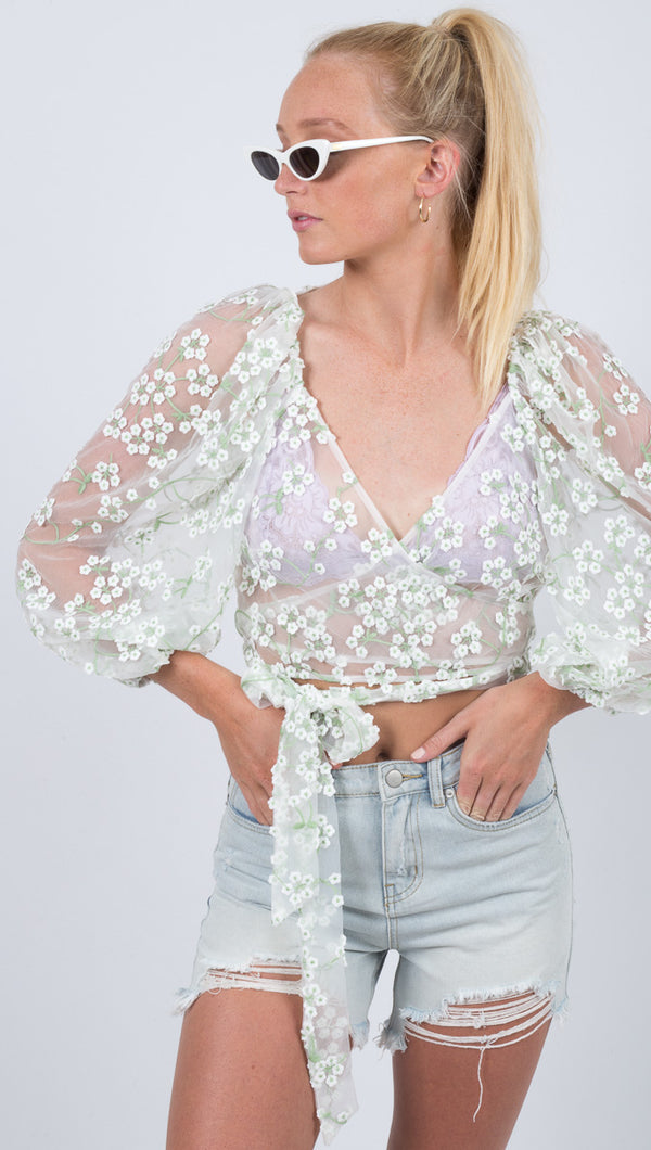 For Love and Lemons Sheer Floral Puffed Sleeves Wrap Top