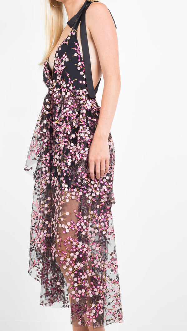 For Love and Lemons black/pink floral sequin maxi dress