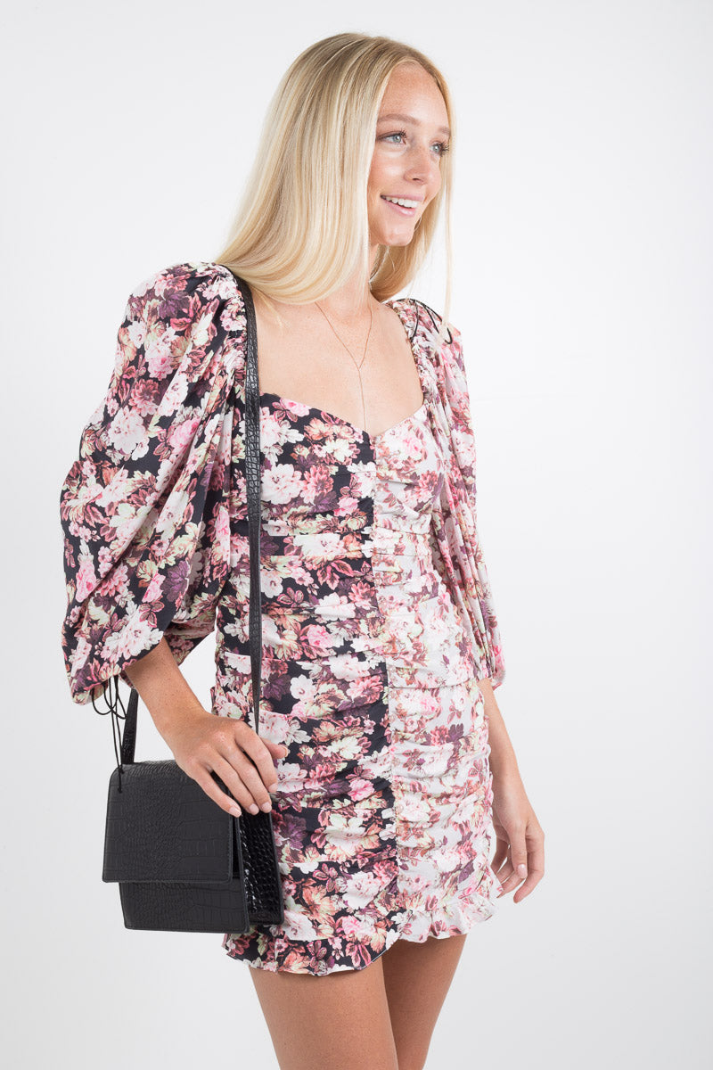 Houston Mini Dress - Black Floral