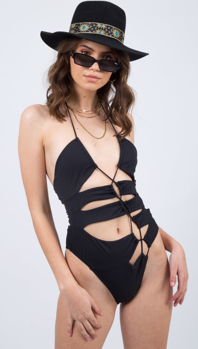 For Love And Lemons Black Cut Out One Piece Swimsuit
