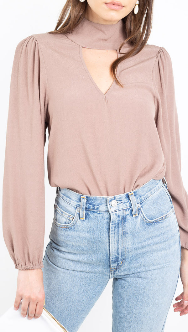 Flynn Skye mauve high neck blouse with front cutout