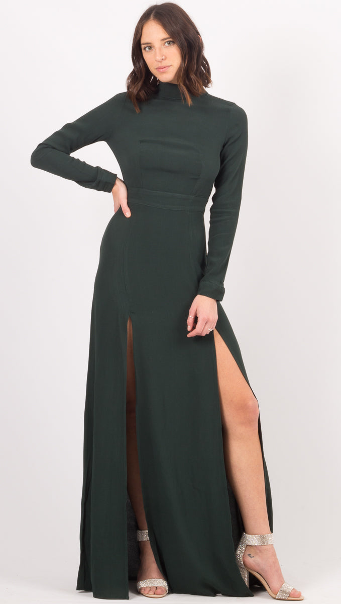 Flynn Skye Dark Green Open Back Gown