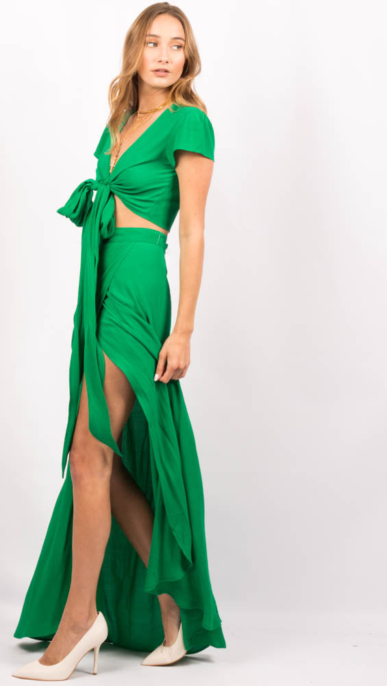 Green High Waist Maxi Skirt