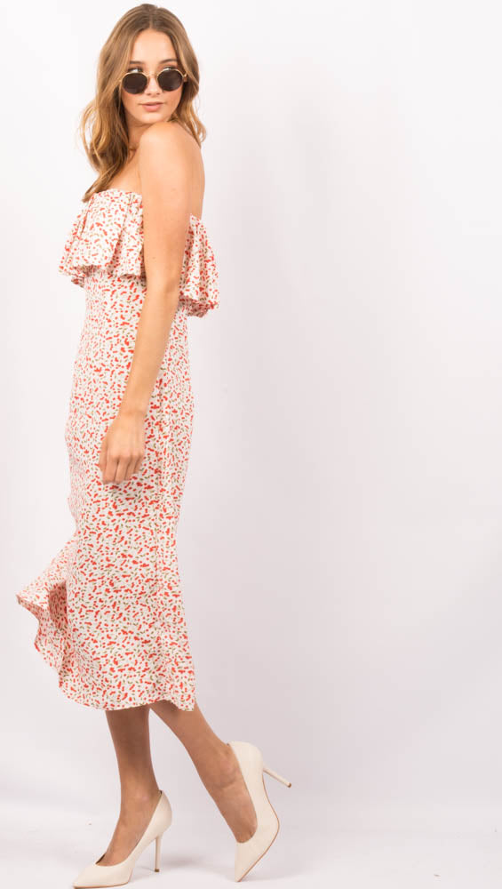 White Cherry Print Midi Dress