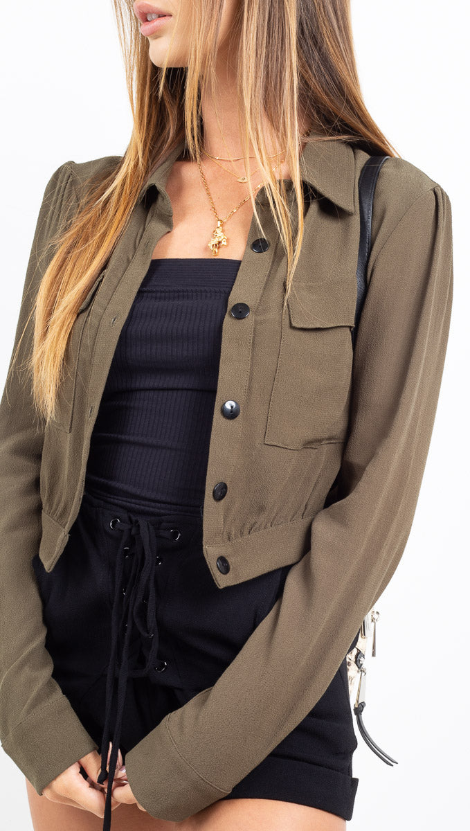 Flynn Skye olive green button down long sleeve crop blouse