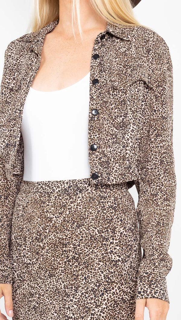 Flynn Skye cheeta long sleeve crop button down