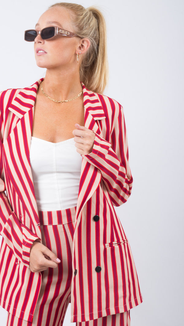 Flynn Skye Red Strip Blazer Jacket