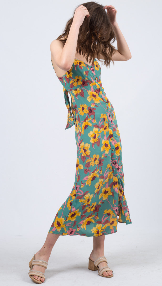 Flynn Skye Green Floral Sweetheart Neckline Button Down Midi Dress