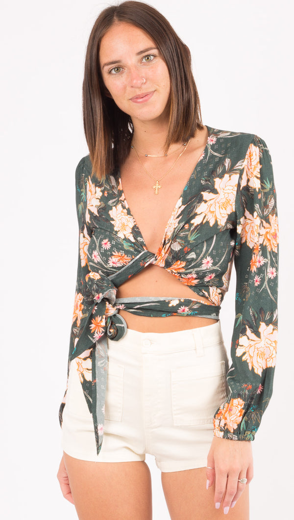 Long Sleeve That's A Wrap Crop Top - Abstract Emerald