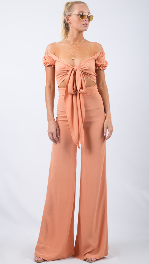 Flynn Skye Peach High Rise Wide Leg Pant