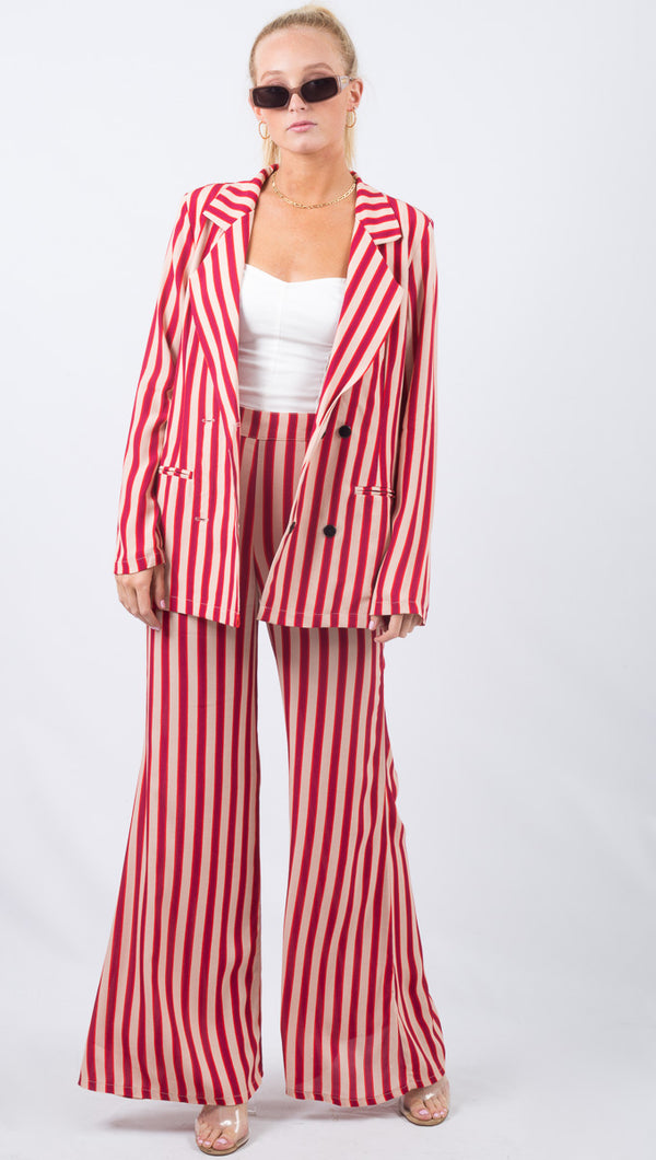 Flynn Skye Red Striped High Rise Flare Pant