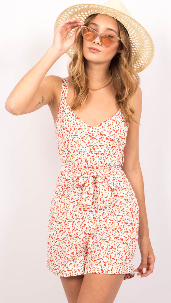 White Cherry Print Romper