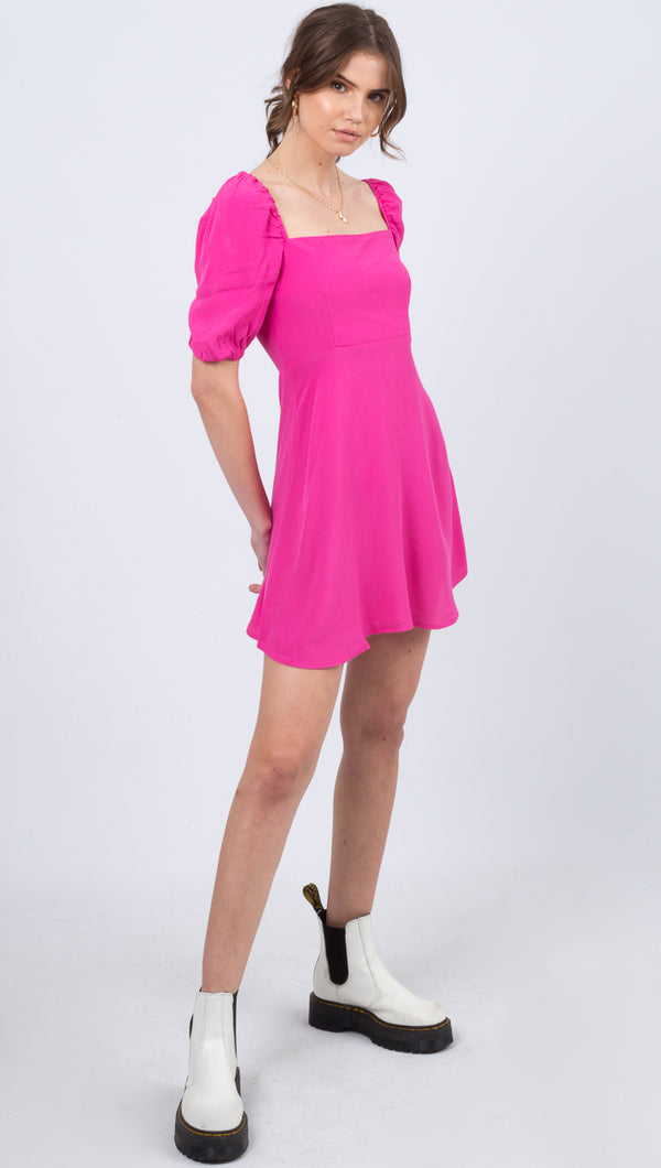Flynn Skye Pink Square Neckline Dress With Puffed Sleeves