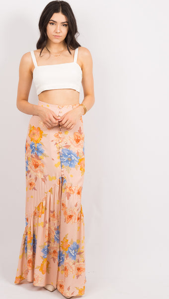 Unbutton Me Skirt - Peony Dreams