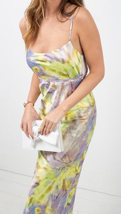 Flynn Skye Purple and Green Tie Dye Midi Dress