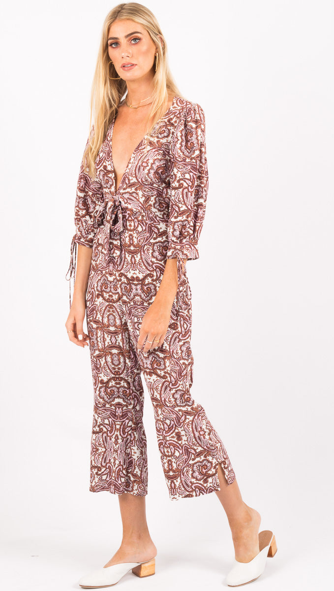 For Love And Lemons Georgi Jumpsuit Lilac Paisley Van De Vort