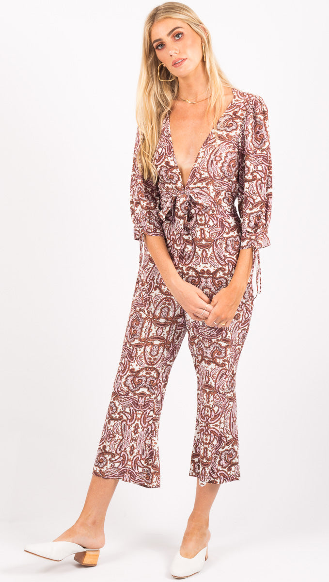 For Love And Lemons Purple Paisley Jumpsuit