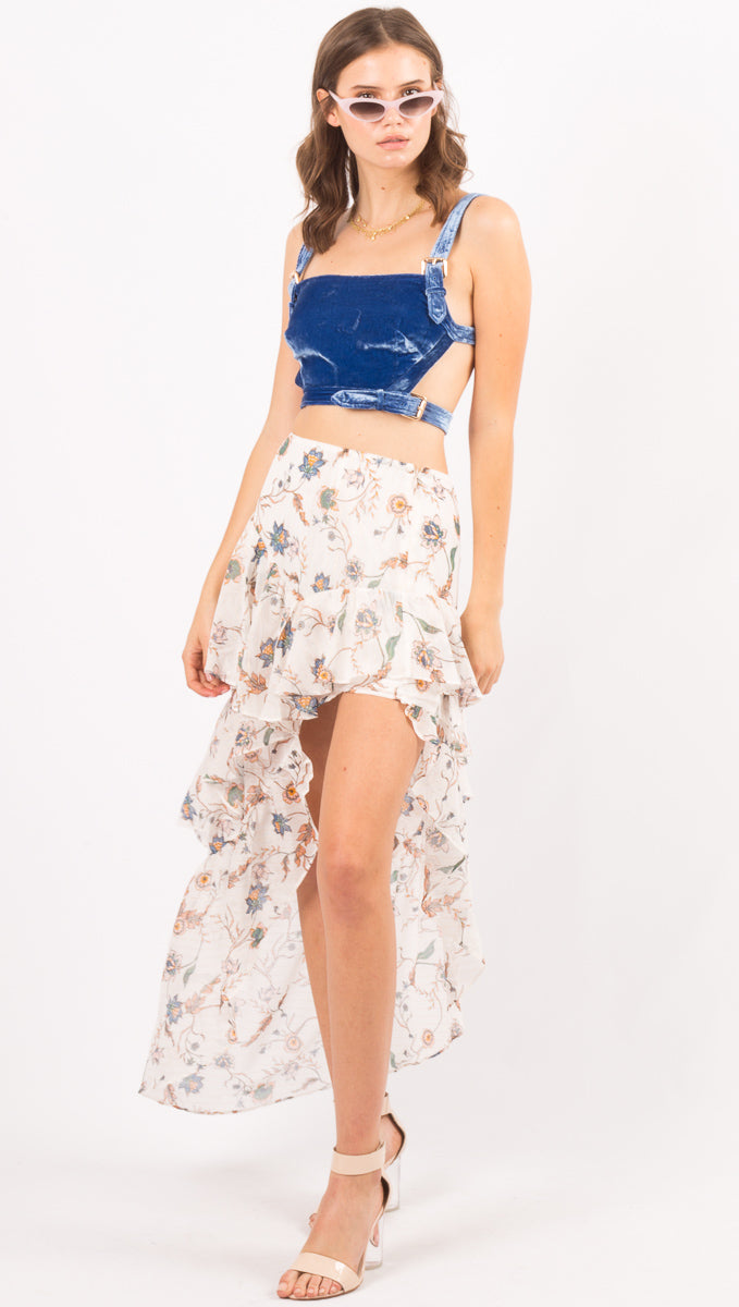 Romy Tiered Maxi Skirt - Lurex Floral