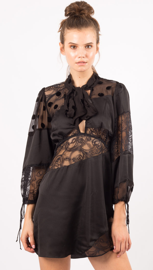 For Love And Lemons Black Paneled Mini Dress