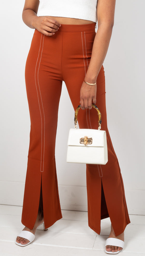 Foxiedox Rust High Rise Flare Pants With Split Front Seam