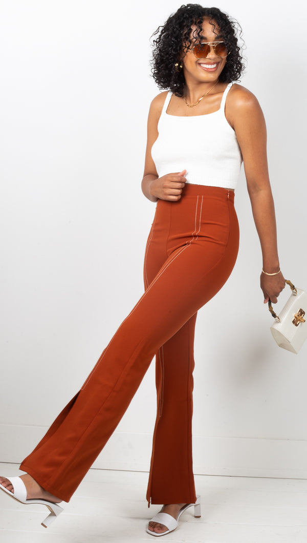 Clay Split Pant - Clay